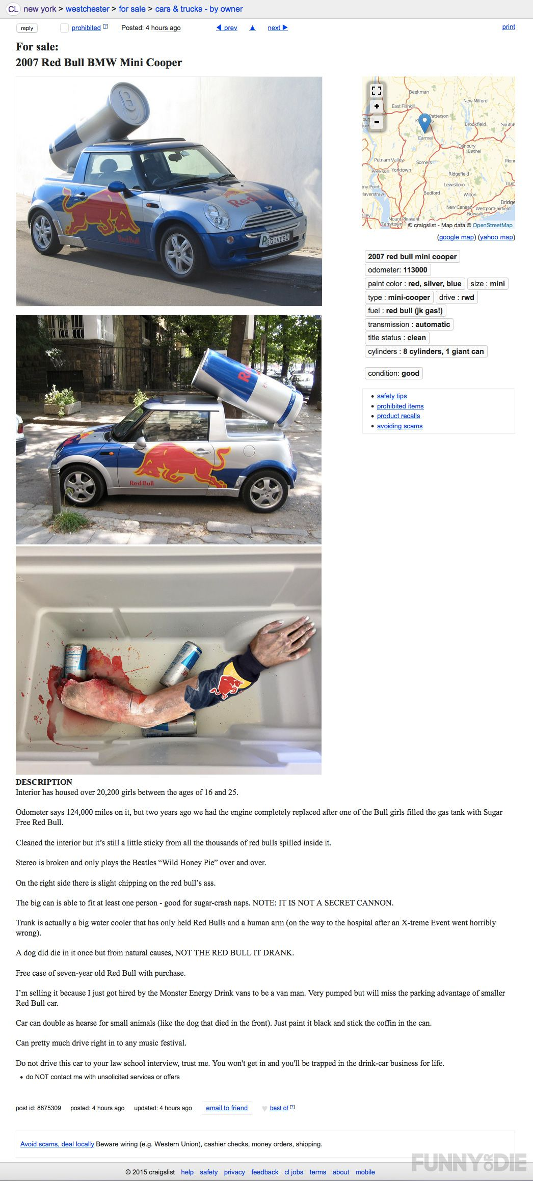 Craigslist Ad For A Red Bull Car