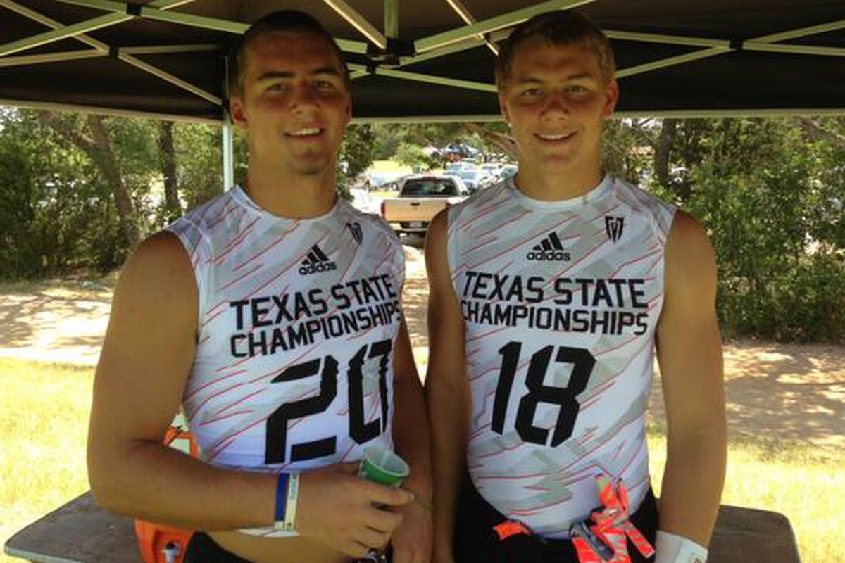 The Wright brothers, Brady (left) and Brock, at the state 7-on-7 tournament in the summer of 2013, when Brady was a senior committed to Rice and Brock was a soon-to-be freshman.