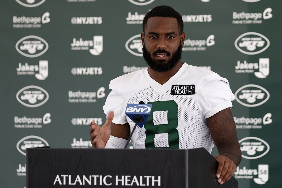 Elijah Moore #8 of the New York Jets speaks with the media at Atlantic Health Jets Training Center on July 30, 2021 in Florham Park, New Jersey.