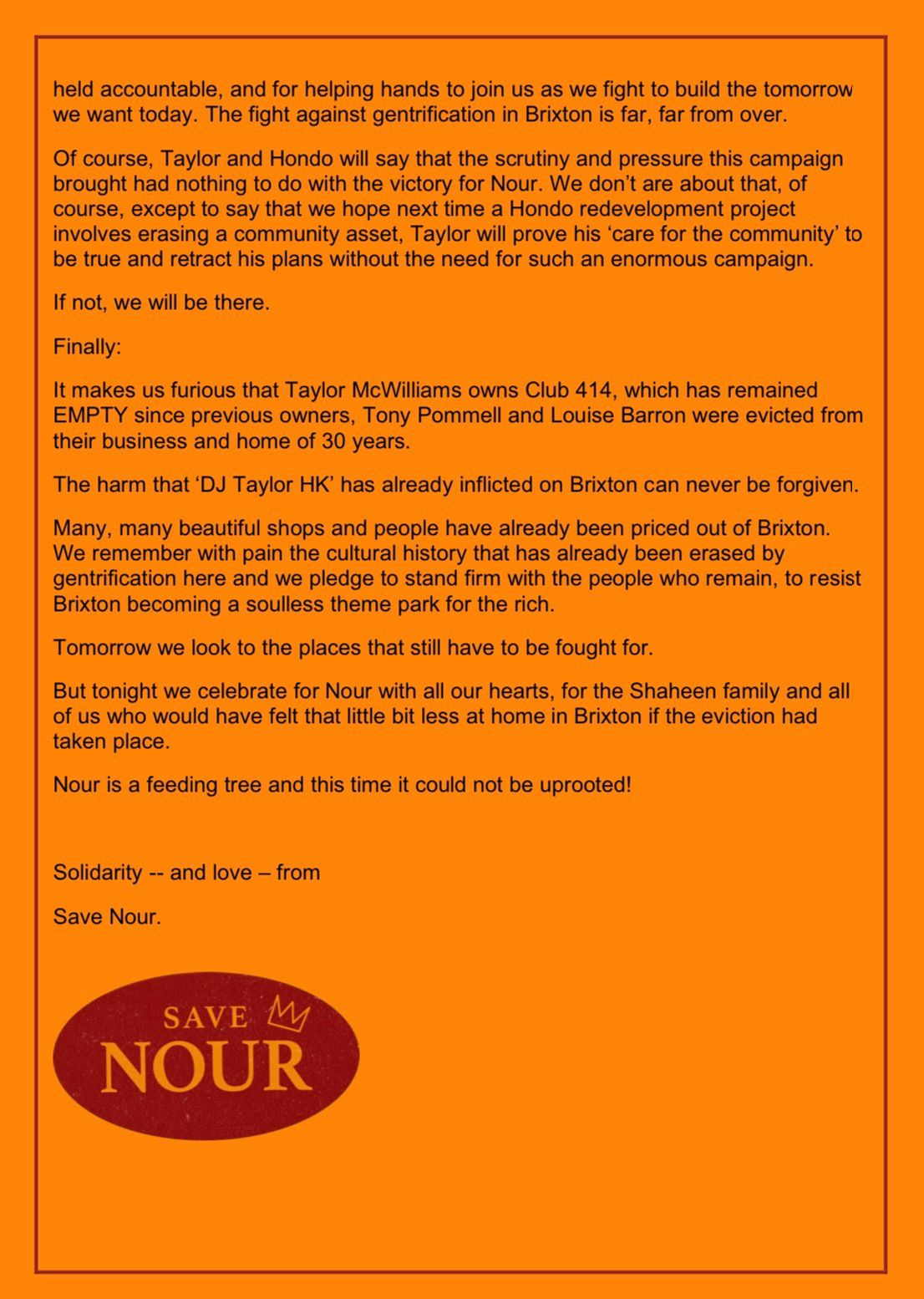 The second part of a statement from Save Nour