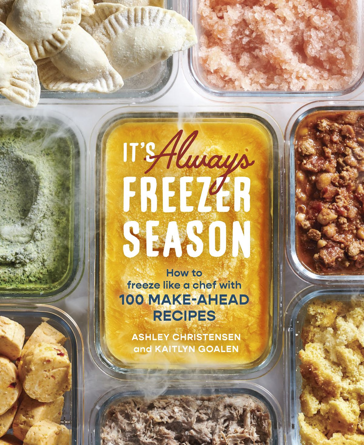 A cookbook cover with a photo of class containers of frozen food