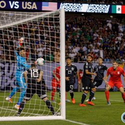 July 7, 2019 - Chicago, Illinois, United States - Mexico midfielder Andres Guardado (18) heads the ball of the line during the Gold Cup Final at Soldier Field.
