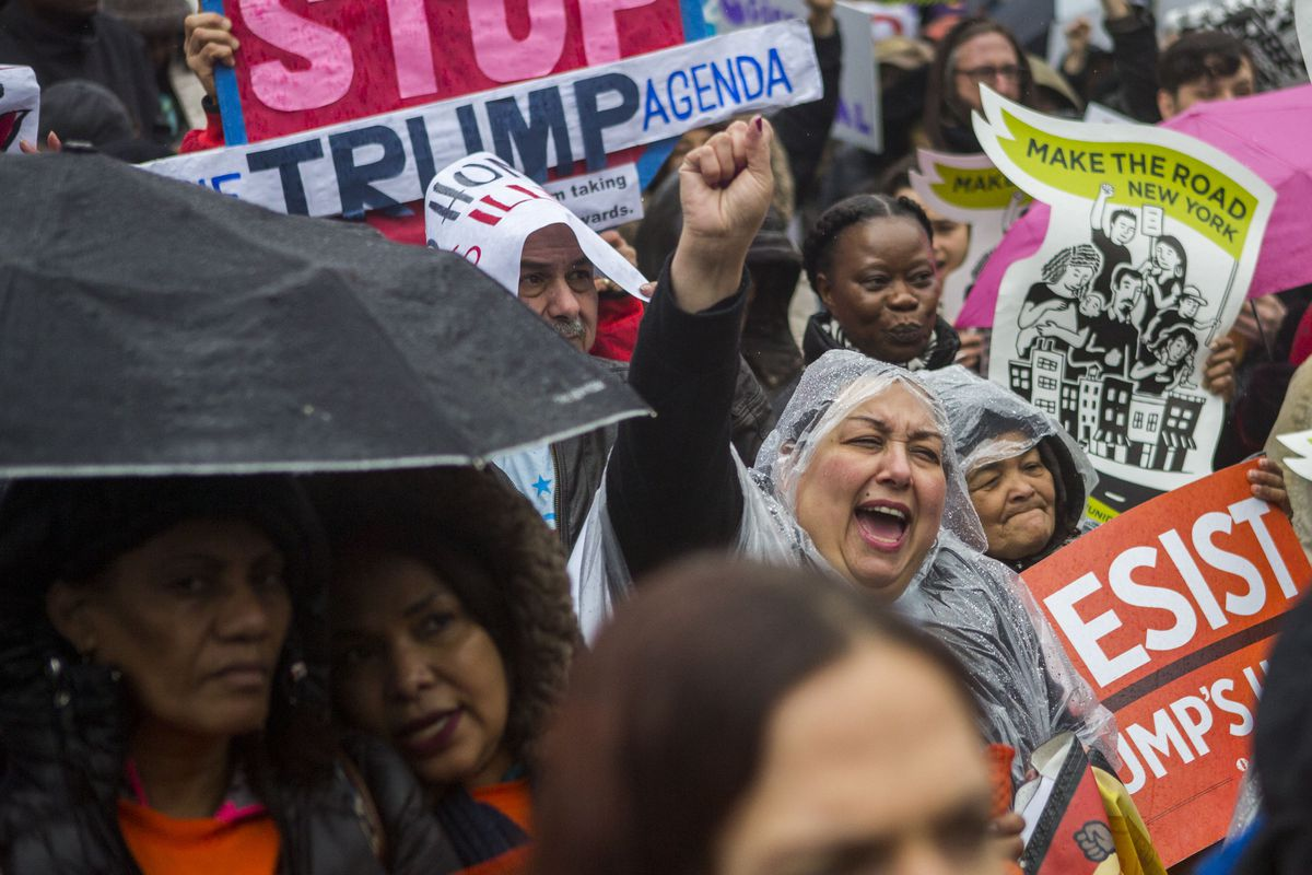 Activists Rally Outside GOP Retreat In Philadelphia During Trump Visit