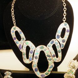 """""""I love the mix of color here, the blue and the green together—this is by designer John Ford for the AGTA Collection."""""""