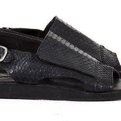 """For the avant-garde mandal lover: Snakeskin Ankle Sandal, <a href=""""https://www.skingraftdesigns.com/detail/snakeskin-ankle-sandal"""">$480</a> at Skingraft"""