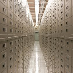 A row of cabinets holds film at Granite Mountain Records Vault. The Family History Conference at the Salt Palace Convention Center presented a virtual video tour Wednesday morning of the vault, the seldom-seen site of records preservation and storage for the LDS Church.