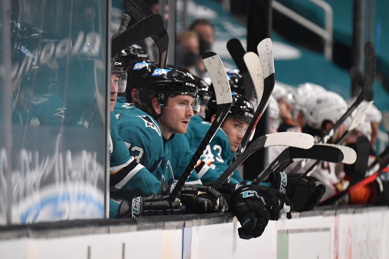 Noah Gregor #73 of the San Jose Sharks watches from bench while facing the Anaheim Ducks at SAP Center on April 14, 2021 in San Jose, California.