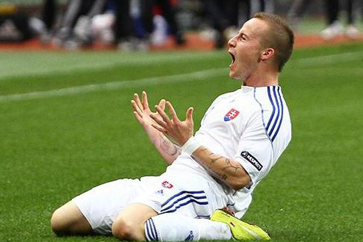 Miroslav Stoch celebrates after scoring Slovakia's winner against Russia in Euro 2012 qualifying. Miňo, next time we discuss the tattoos.   By Майоров Владимир (http://www.soccer.ru/gallery2.php?id=28265)