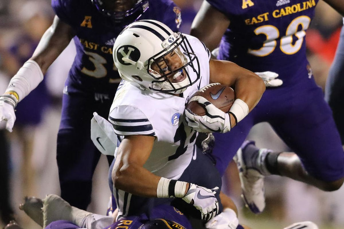 BYU wide receiver Micah Simon fights for extra yardage.