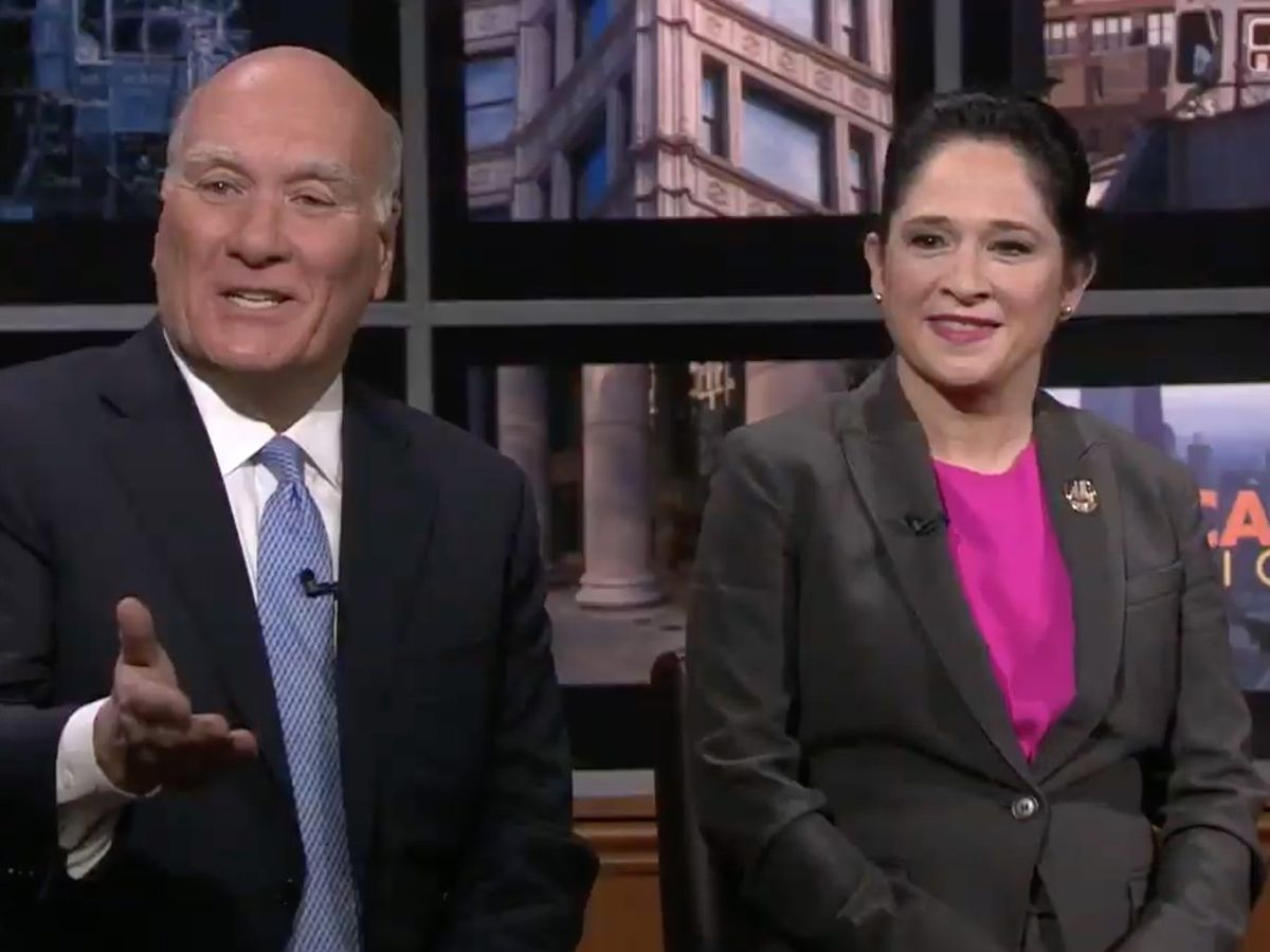 Mayoral candidates, left to right, Bill Daley and Susana Mendoza participate in a debate at WTTW-Channel 11. Screen image.