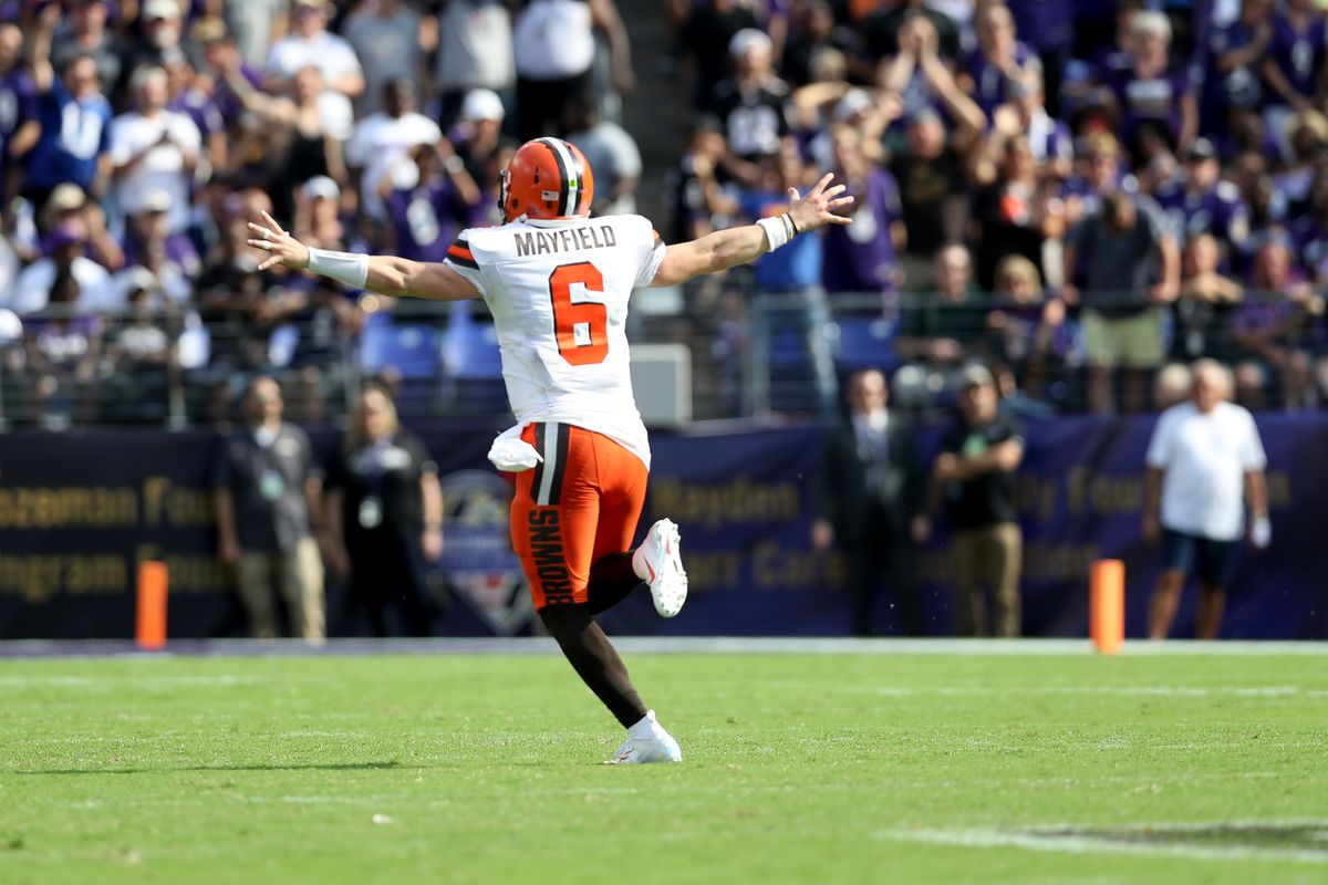 Baker Mayfield of the Cleveland Browns celebrates as Nick Chubb (not pictured) rushes for a fourth quarter touchdown against the Baltimore Ravens at M&T Bank Stadium on September 29, 2019 in Baltimore, Maryland.