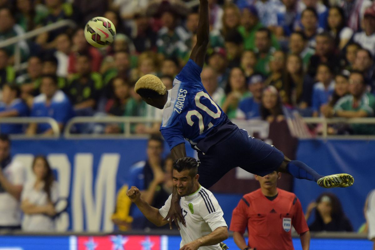 American international Gyasi Zardes goes up over Mexico's Mario Osuna in a friendly earlier this year in San Antonio, Texas.