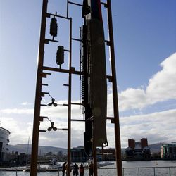 A sculpture of the  liner Titanic as a construction kit on display in the Titanic Quarter, Belfast, Northern Ireland, Saturday, April 14, 2012.  The ship, built at this former shipyard,  sank 100 years earlier on its maiden voyage. (AP Photo/Peter Morrison)
