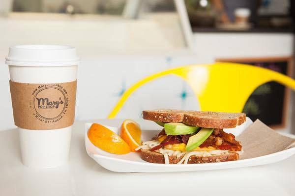 A breakfast sandwich from Mary's