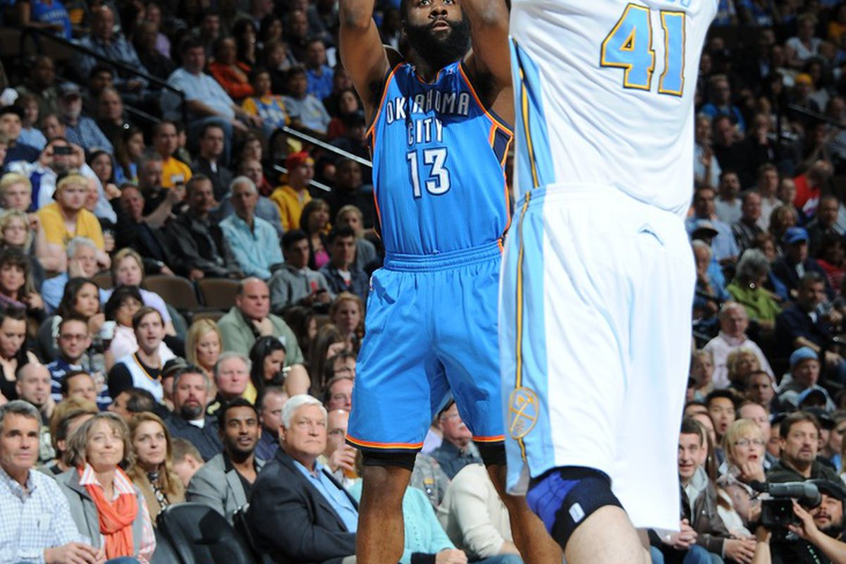 James Harden lines up another open look as Kosta Koufos tries to close out on the shot late.