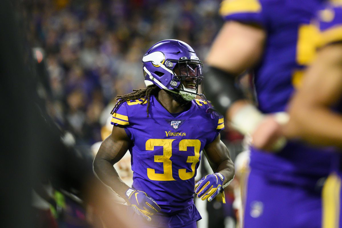 Dalvin Cook of the Minnesota Vikings runs off the field after scoring a touchdown in the second quarter of the game against Washington at U.S. Bank Stadium on October 24, 2019 in Minneapolis, Minnesota.