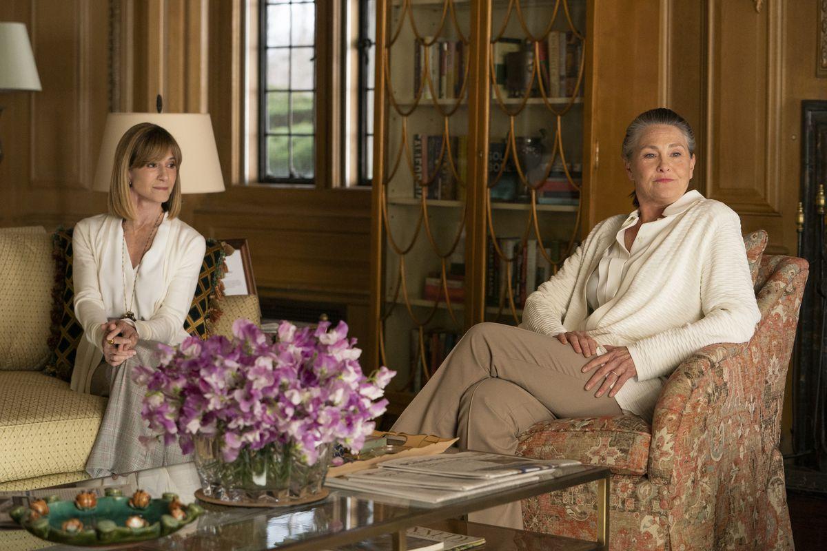Rhea (Hunter) and Nan (Jones) sit in the Pierce study.