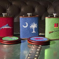"""Local menswear accessories brand <b><a href=""""http://www.tuckerblair.com/"""">Tucker Blair</a></b> makes a treasured gift for both male and female bridal party members, with a broad variety of needlepoint flasks ($85) and coasters ($90) ready to be monogramme"""