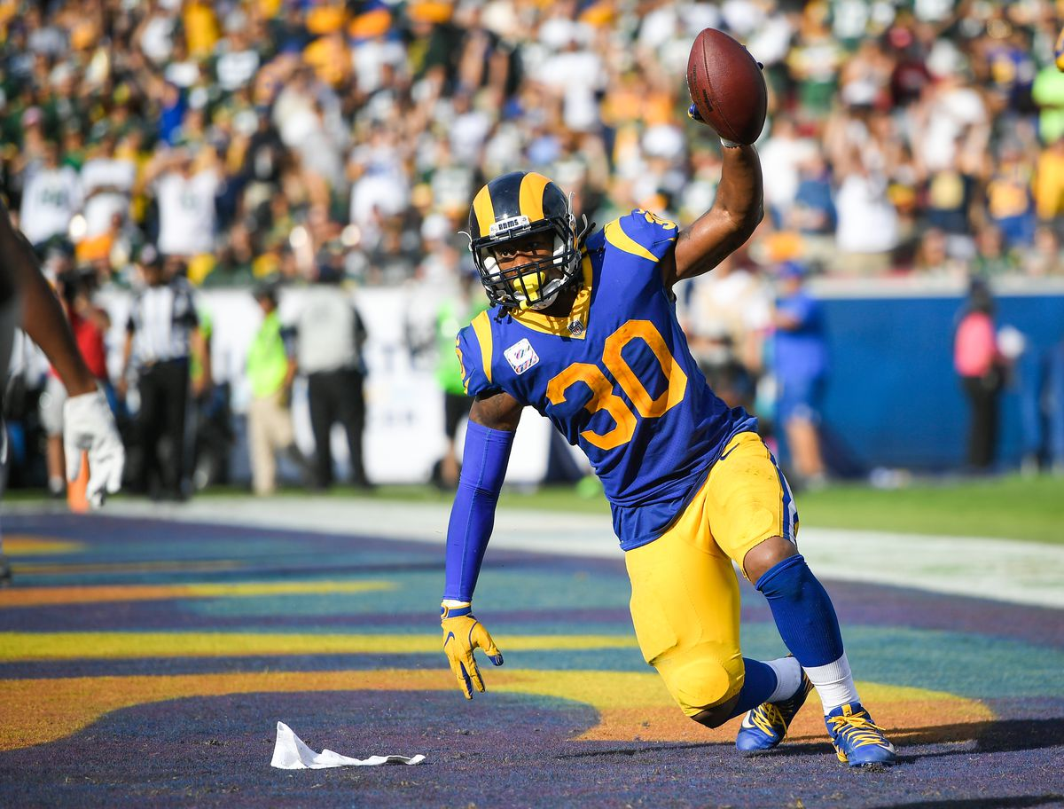 Los Angeles Rams running back Todd Gurley celebrates in the end zone