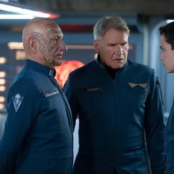 """From left, Ben Kingsley, Harrison Ford and Asa Butterfield star in """"Ender's Game."""""""