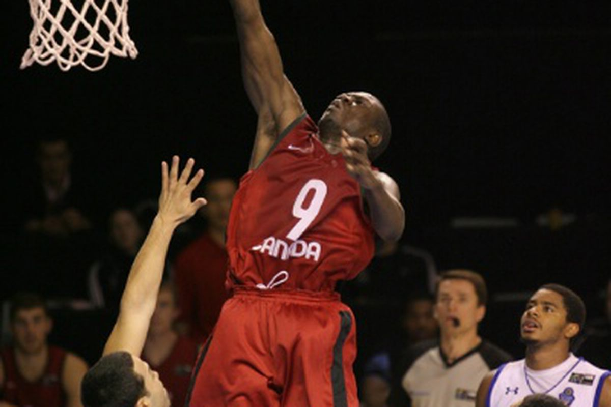Canada guard and Gonzaga commit Manny Arop goes up for a shot attempt against Puerto Rico.