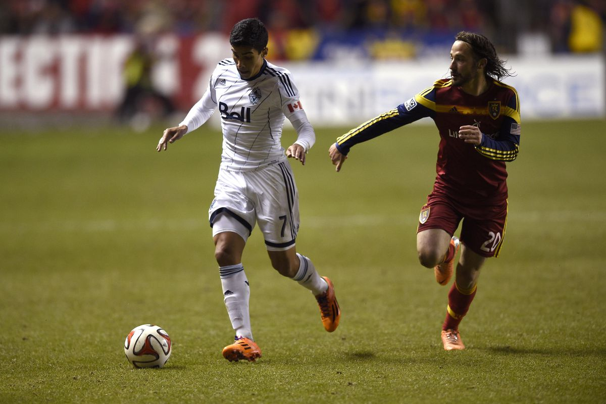 Sebastián Fernández (L) stole a point for Whitecaps FC in the dying moments of the match against Real Salt Lake