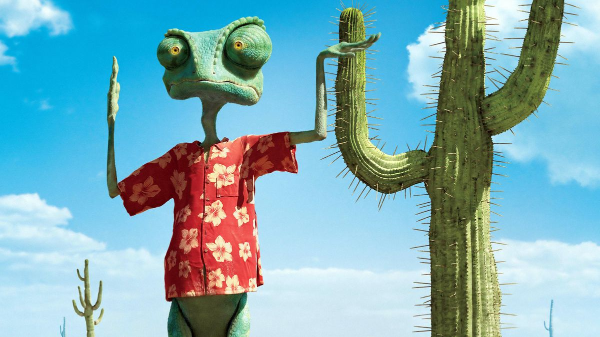 the lizard Rango poses in front of a cactus