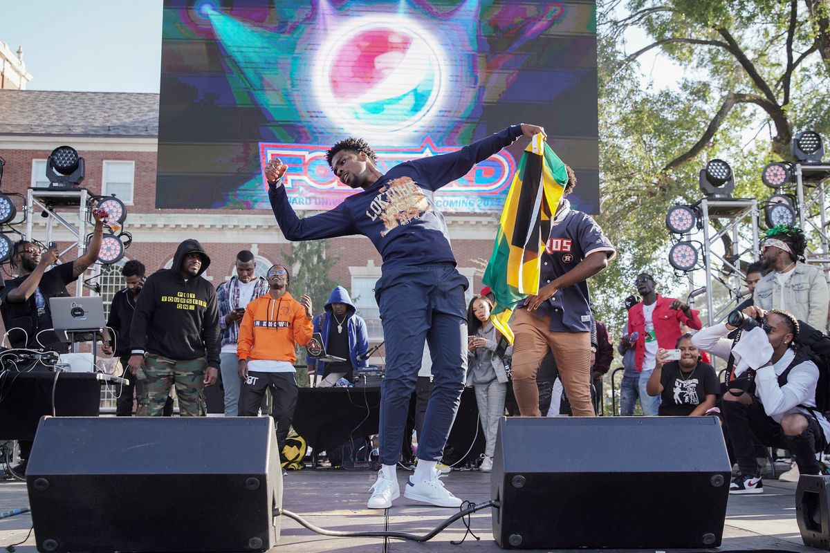 A dancer performs at a Howard University Homecoming celebration in Washington D.C. on Oct. 11.