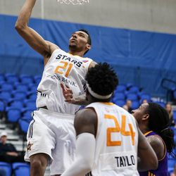 Salt Lake City Stars forward Joel Bolomboy (21) lays it up during the game against the Los Angeles D-Fenders at the Lifetime Activities Center in Taylorsville on Wednesday, Feb. 08, 2017.