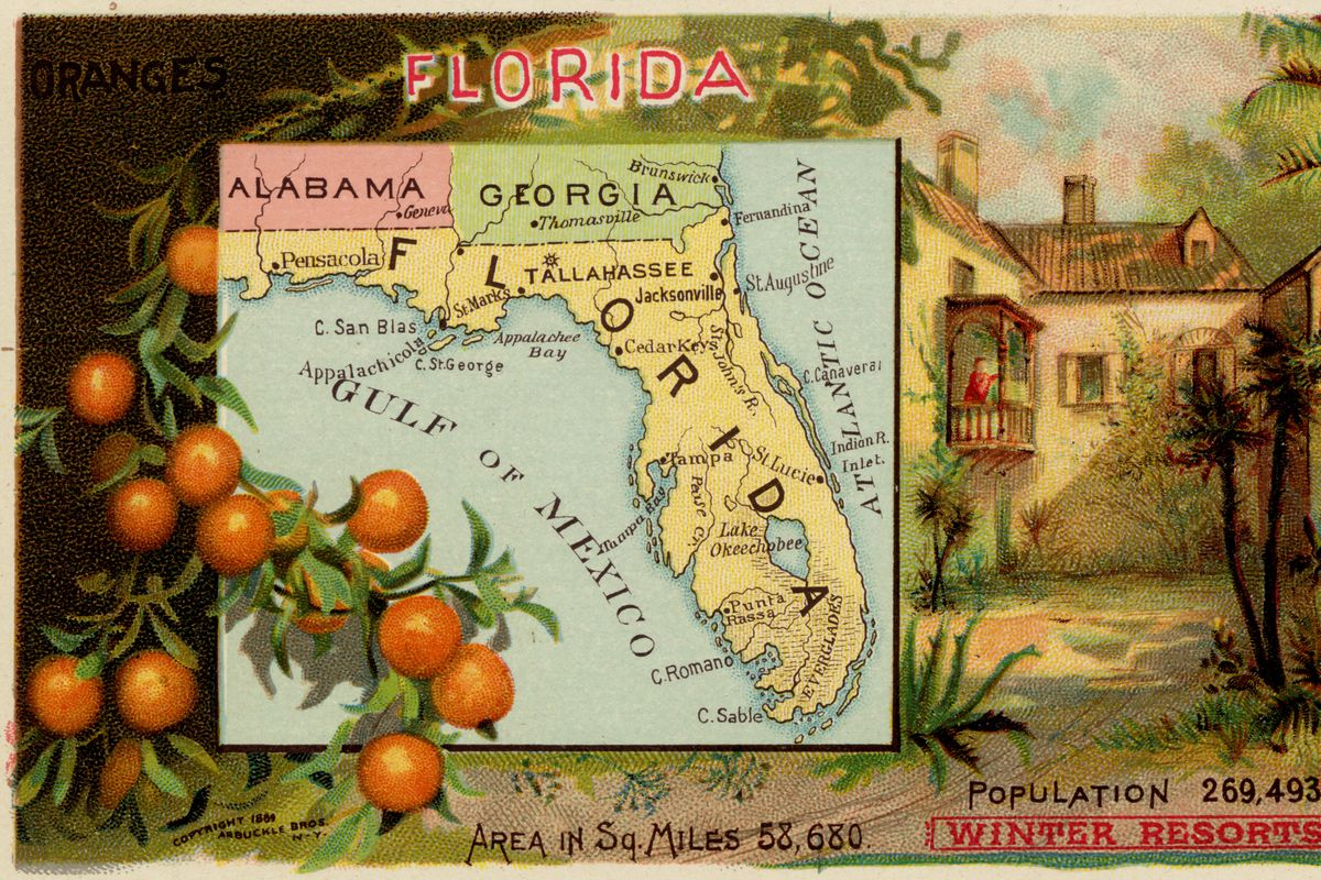 A map of Florida from 1889.