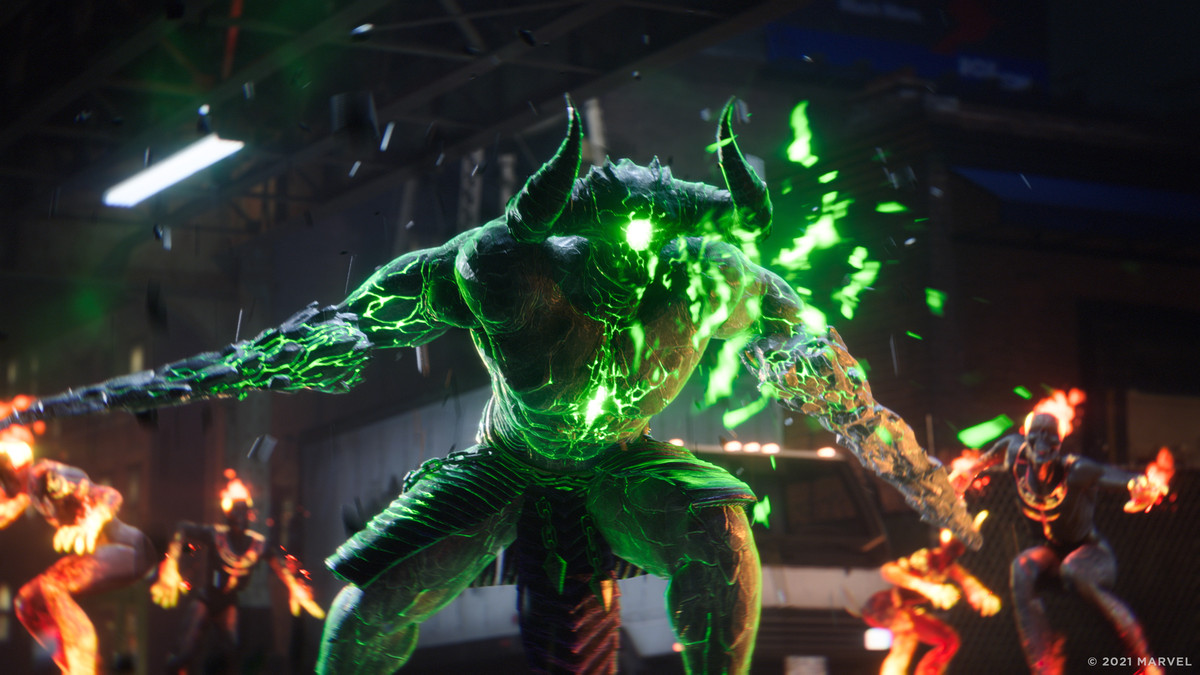 An enemy with horns, His flesh is cracked, with a green glow showing through. Other flaming enemies lurk in the background.