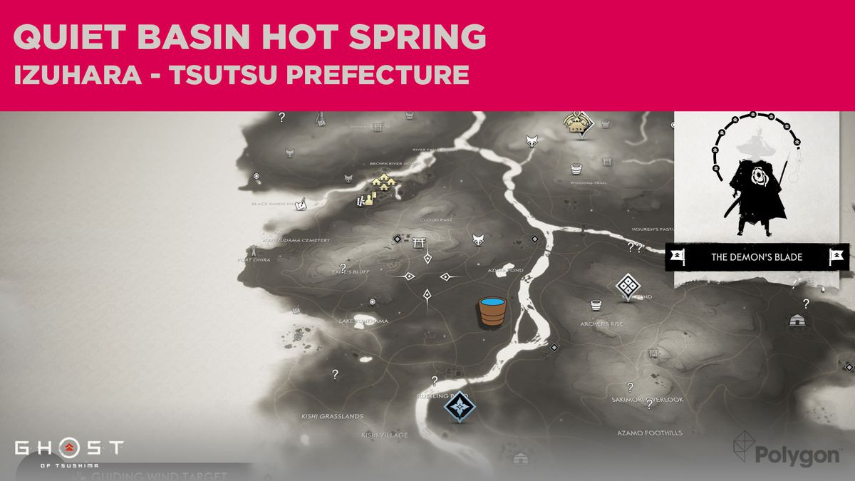The location of the second Hot Spring in Tsutsu in Ghost of Tsushima