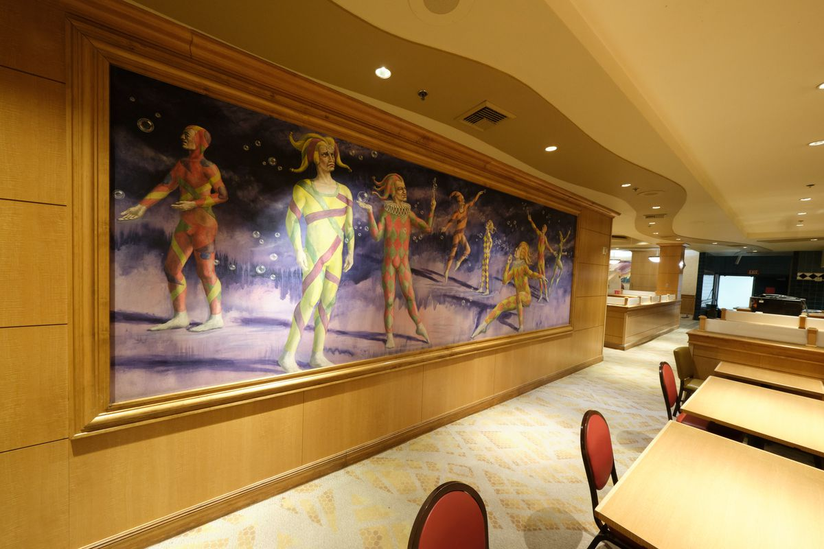 The interior wall of a circus-themed buffet