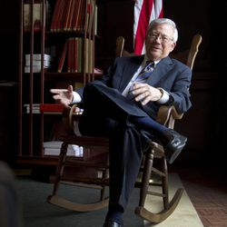 In this April 4, 2012 photo, U.S. District Judge W. Harold Albritton is pictured in his Montgomery, Ala., office. Alabama's law school _ which generally is ranked among the nation's best _ has become a Deep South outpost for justices since the late 1990s, when Albritton began pursuing justices to speak at his alma mater in a lecture series funded by his family. The Albritton Lecture Series has featured 11 different speeches by 10 justices since Justice Anthony Kennedy first ate ribs at famed Dreamland Bar-B-Que in 1996, and the chief justices of Australia, Canada and Israel also have spoken.
