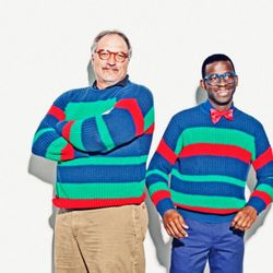 """""""Marty, on the left, is our Chief Operating Officer. Unfortunately he doesn't usually model for us, but he happened to be doing the rounds late one night while we were shooting the lookbook so we forced him into a sweater and glasses for this shot.&q"""