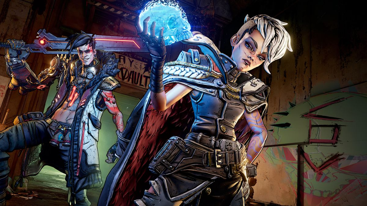 a young man and a young woman pose in a dystopian wasteland in Borderlands 3