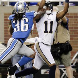 St. Louis Rams wide receiver Brandon Gibson (11) makes a touchdown catch while pressured by Detroit Lions cornerback Jonte Green (36) in the fourth quarter of an NFL football game, Sunday, Sept. 9, 2012, in Detroit.