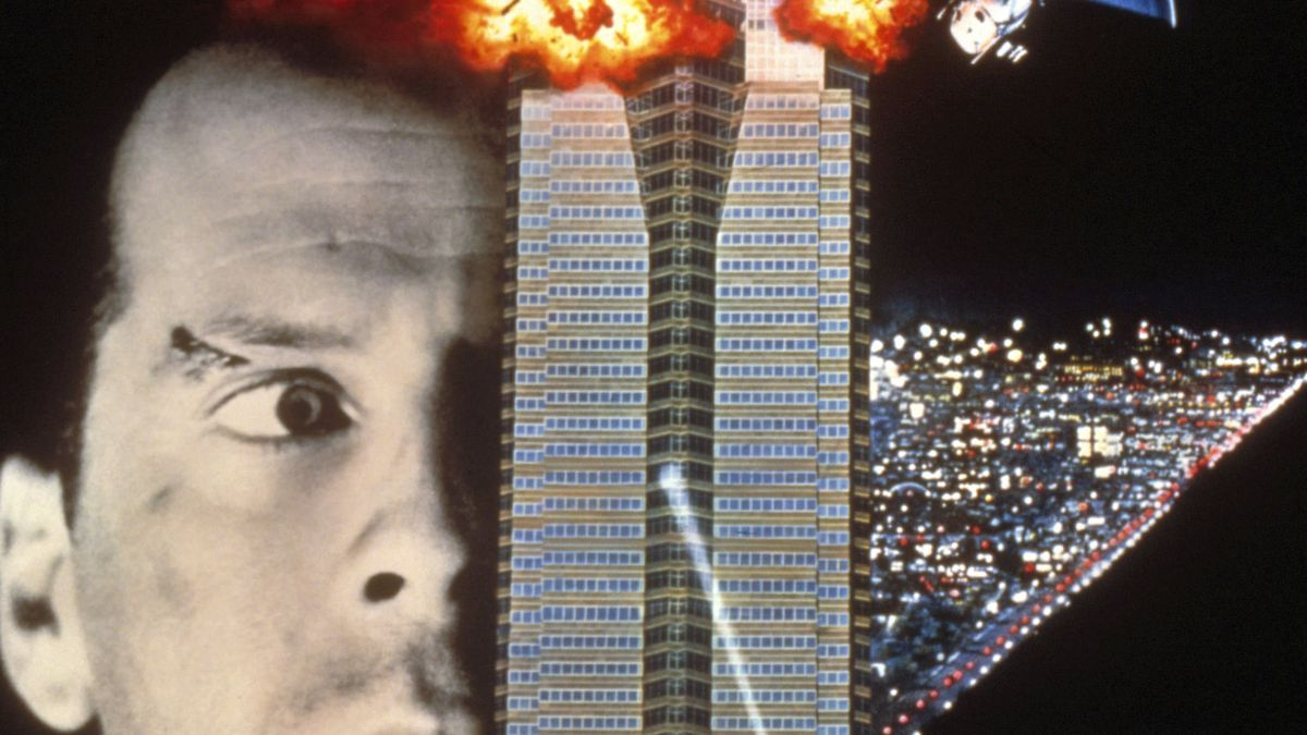 A Die Hard movie poster shows a close-up of actor Bruce Willis's face next to exploding skyscraper. Sparkly city lights at night are on the right.