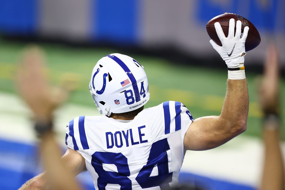 Jack Doyle #84 of the Indianapolis Colts celebrates a touchdown against the Detroit Lions during the second quarter at Ford Field on November 01, 2020 in Detroit, Michigan.