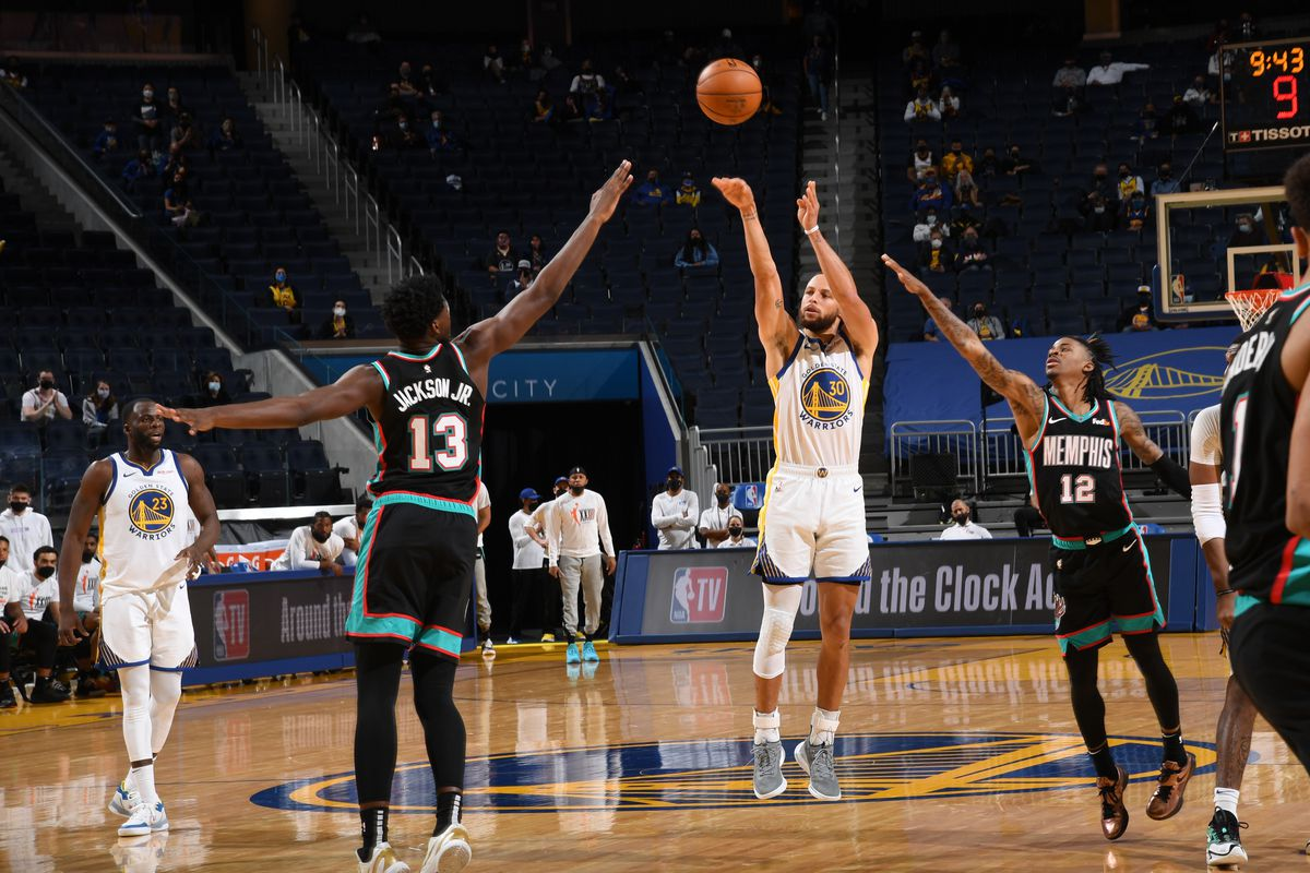 Stephen Curry of the Golden State Warriors shoots the ball during the game against the Memphis Grizzlies on May 16, 2021 at Chase Center in San Francisco, California.