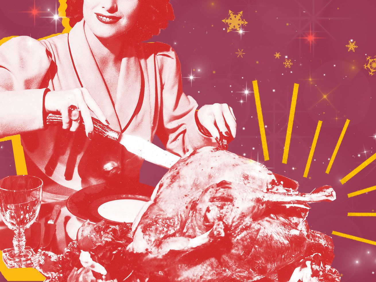 Retro image of a woman cutting into a turkey.