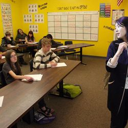 InTech Collegiate High School students listen to student teacher Olivia Kim during geometry/algebra class in North Logan Wednesday, April 24, 2013.