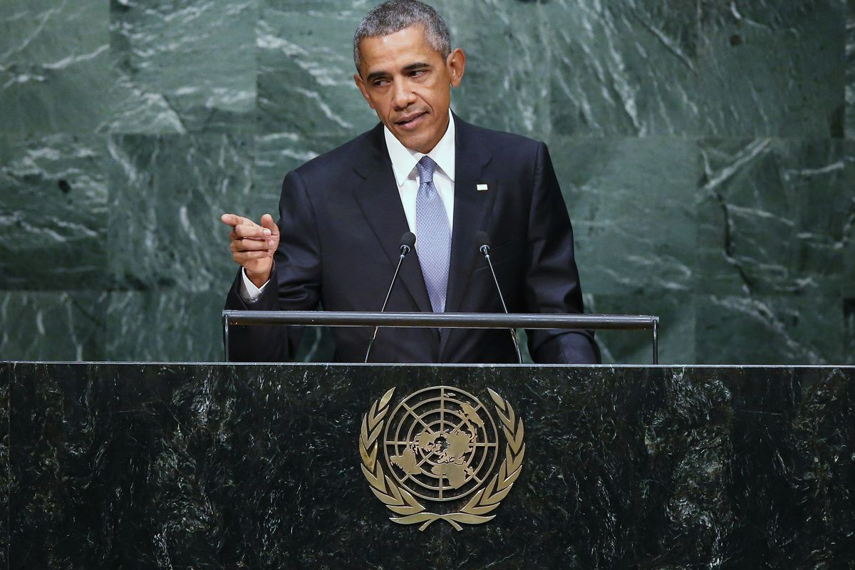 US President Barack Obama addresses the UN General Assembly on September 28, 2015, in New York City. World leaders gathered for the 70th session of the annual meeting.
