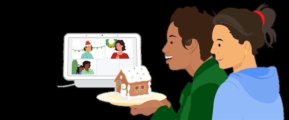 Dos personas mostrando una casa de pan de jengibre usando su Google Nest Hub Max