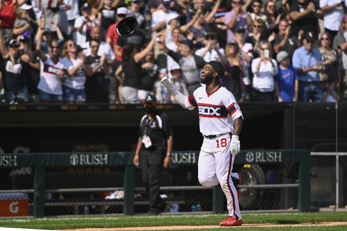The White Sox's Brian Goodwin flips his helmet after hitting a walkoff home run against the Indians on Sunday.