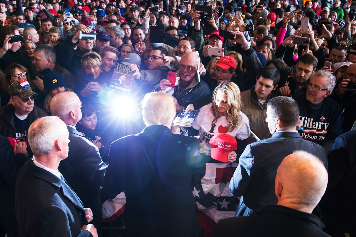 Republican presidential candidate Donald Trump greets the crowd at a rally for his campaign on April 10, 2016 in Rochester, New York.