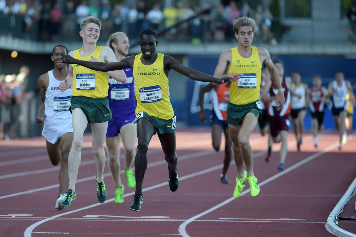 Finish of the Men's 5,000m won by Edward Cheserek of Oregon. SU's Justyn Knight can be seen closing fast to finish 6th