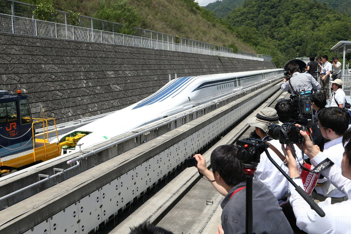 The Japanese train goes twice as fast as any train in the United States.