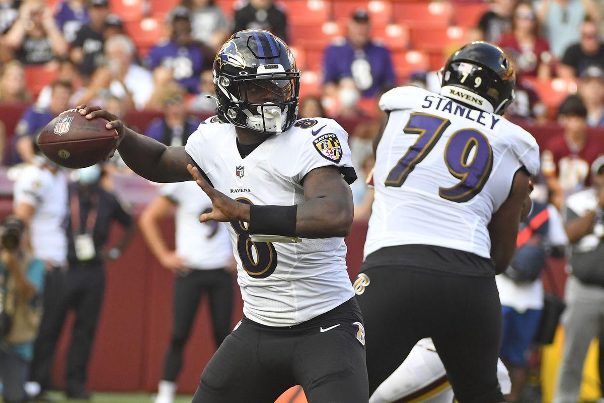 Baltimore Ravens quarterback Lamar Jackson (8) drops back a pass against the Washington Football Team during the first quarter at FedExField.