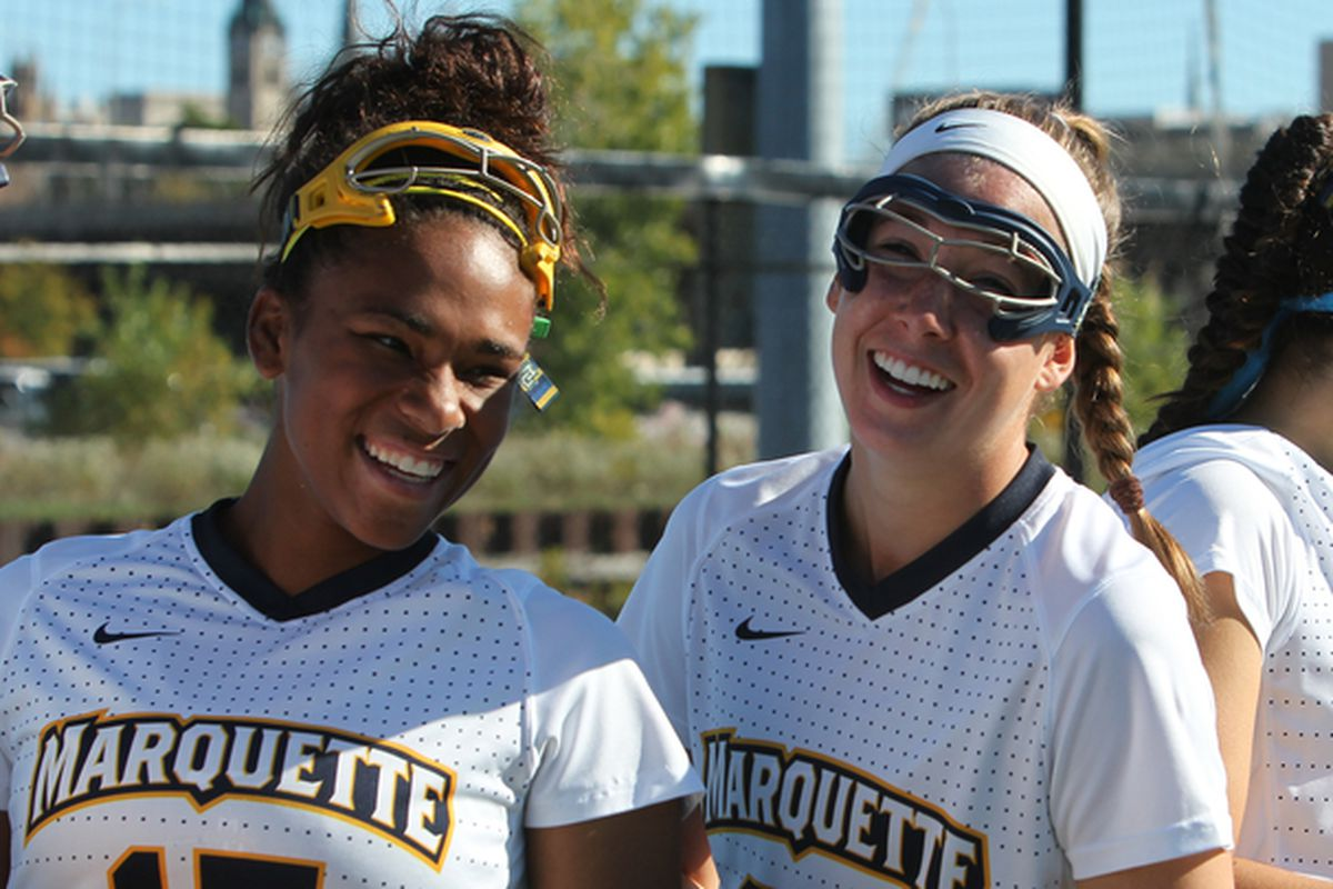 Jenaye Coleman (L) and Abigail Esch (R) are all smiles after finding out about MU's preseason polling.